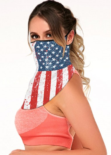 Multi Color American Flag Print Ear Loops Bandana - One Size