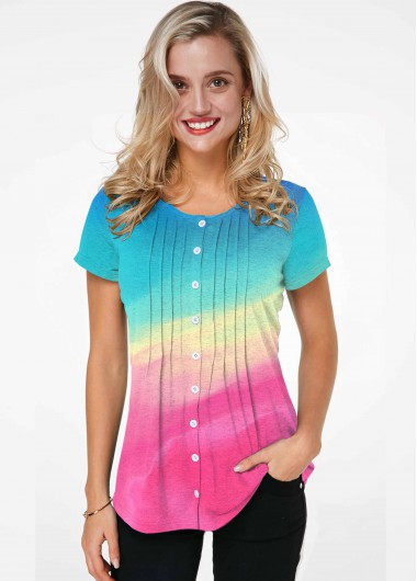 Rainbow Color Round Neck Short Sleeve T-shirt - L