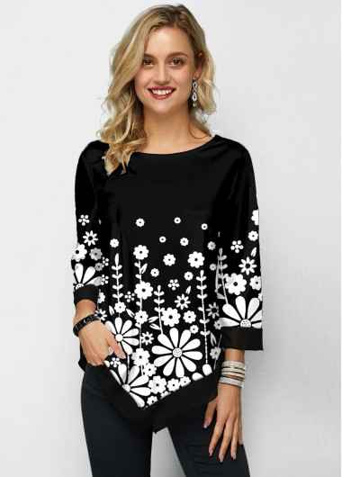 Chiffon Panel Three Quarter Sleeve Printed T Shirt - L