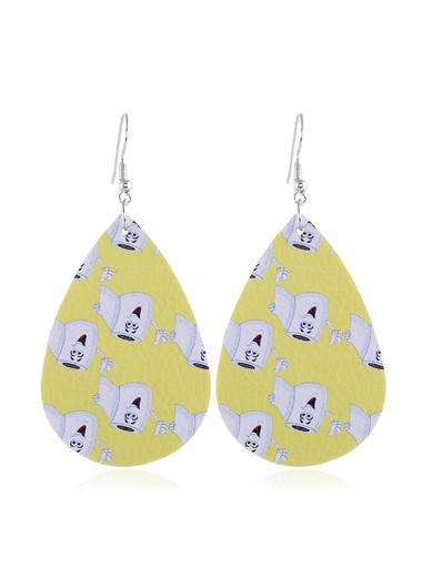 Printed Yellow Drop Shape Earrings - One Size