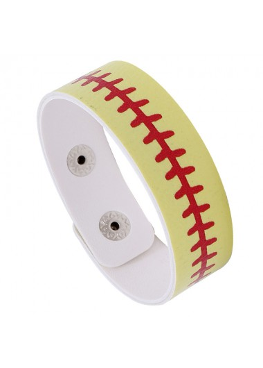 Faux Leather Buckle Sport Yellow Bracelet - One Size