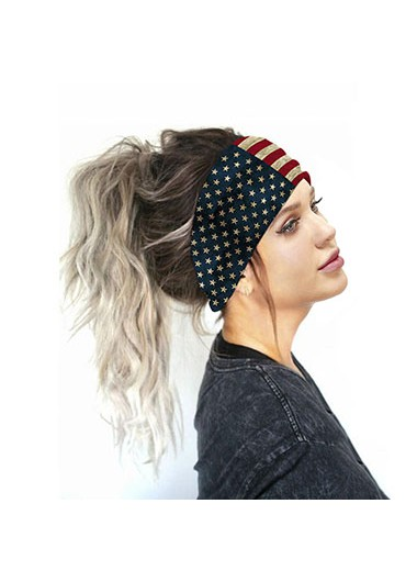 American Flag Print Multi Color Wide Bandana - One Size