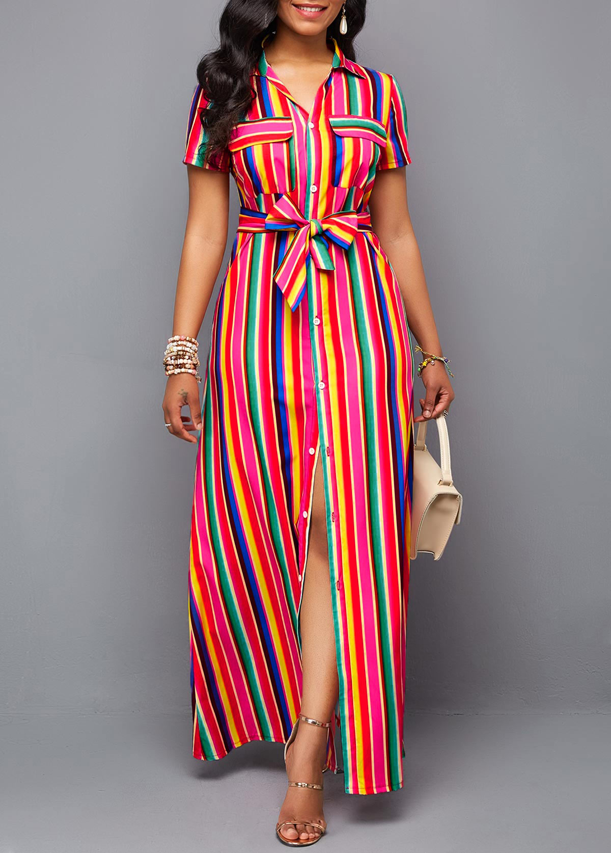 Turndown Collar Button Up Belted Rainbow Color Dress