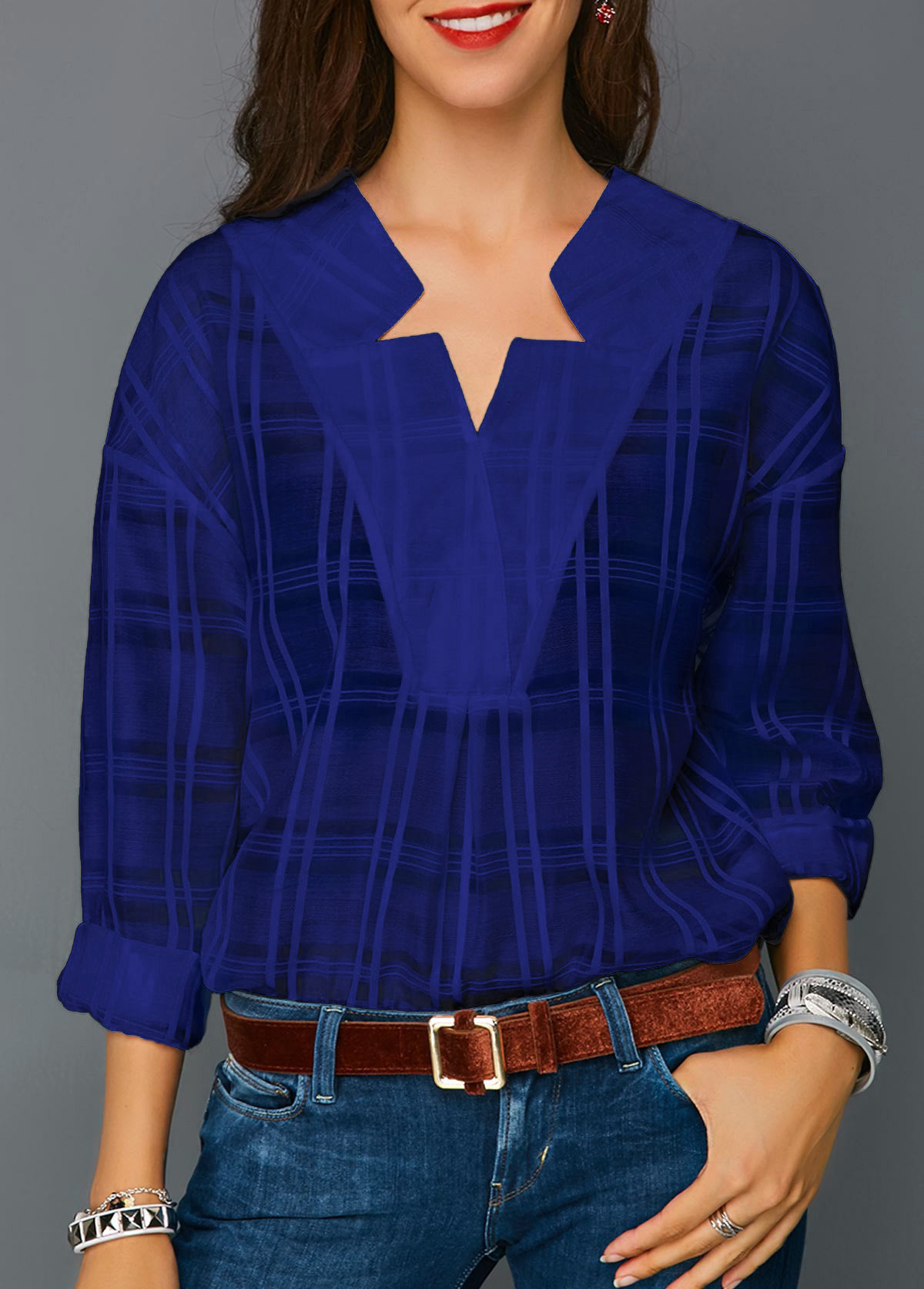 Long Sleeve Curved Hem Royal Blue Blouse