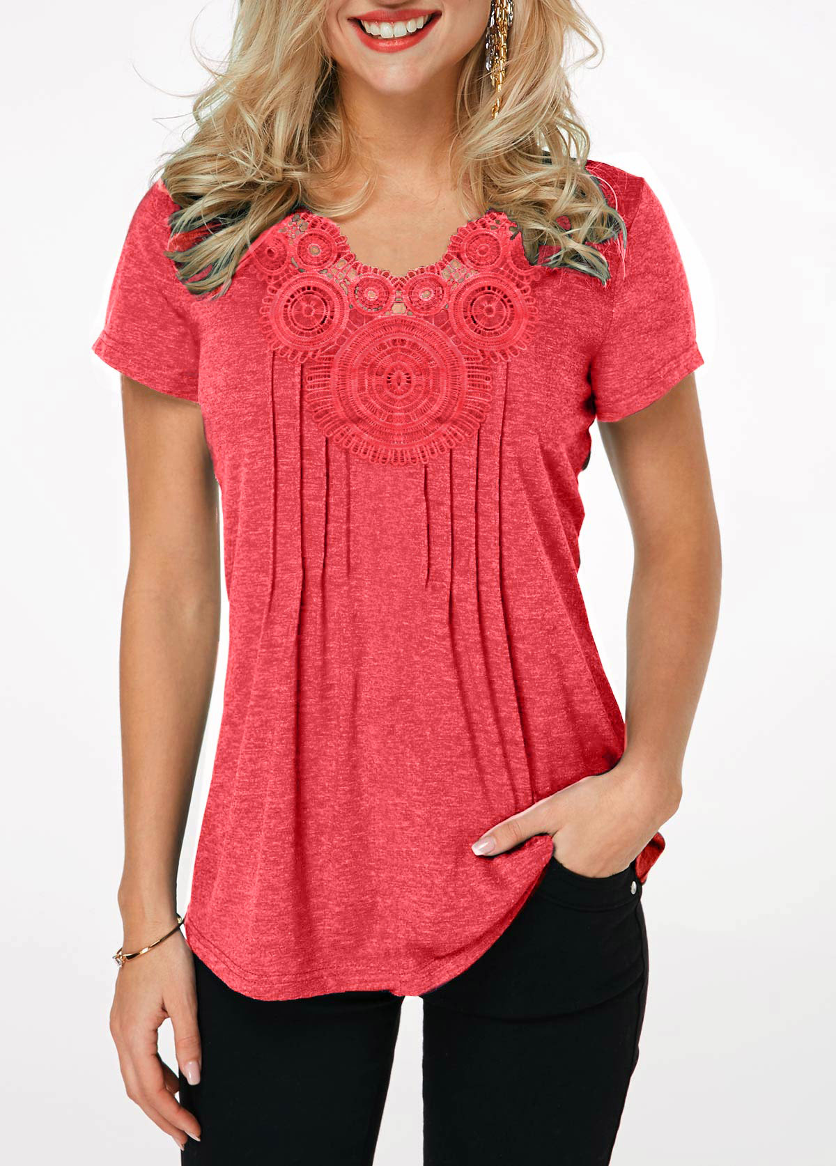 MODLILY DESIGNCrinkle Chest Short Sleeve Coral Red T Shirt