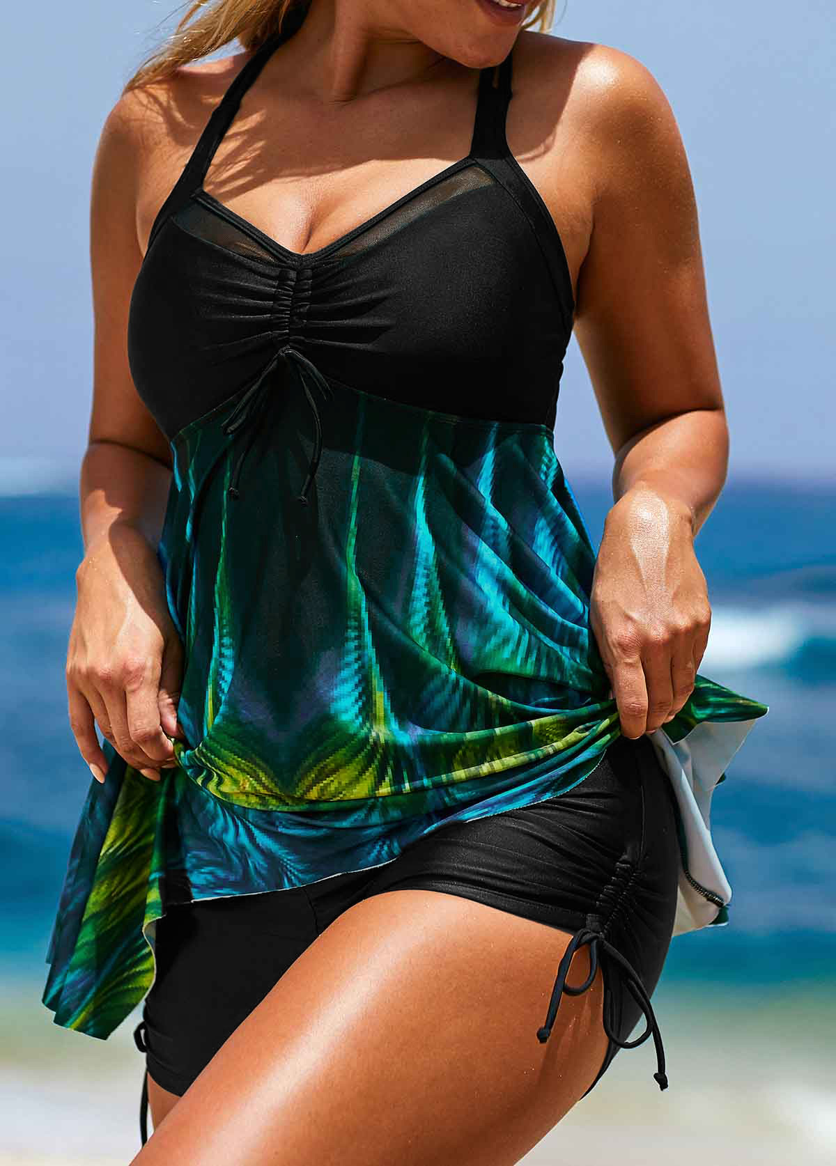 Asymmetric Hem Printed Black Tankini Top and Short