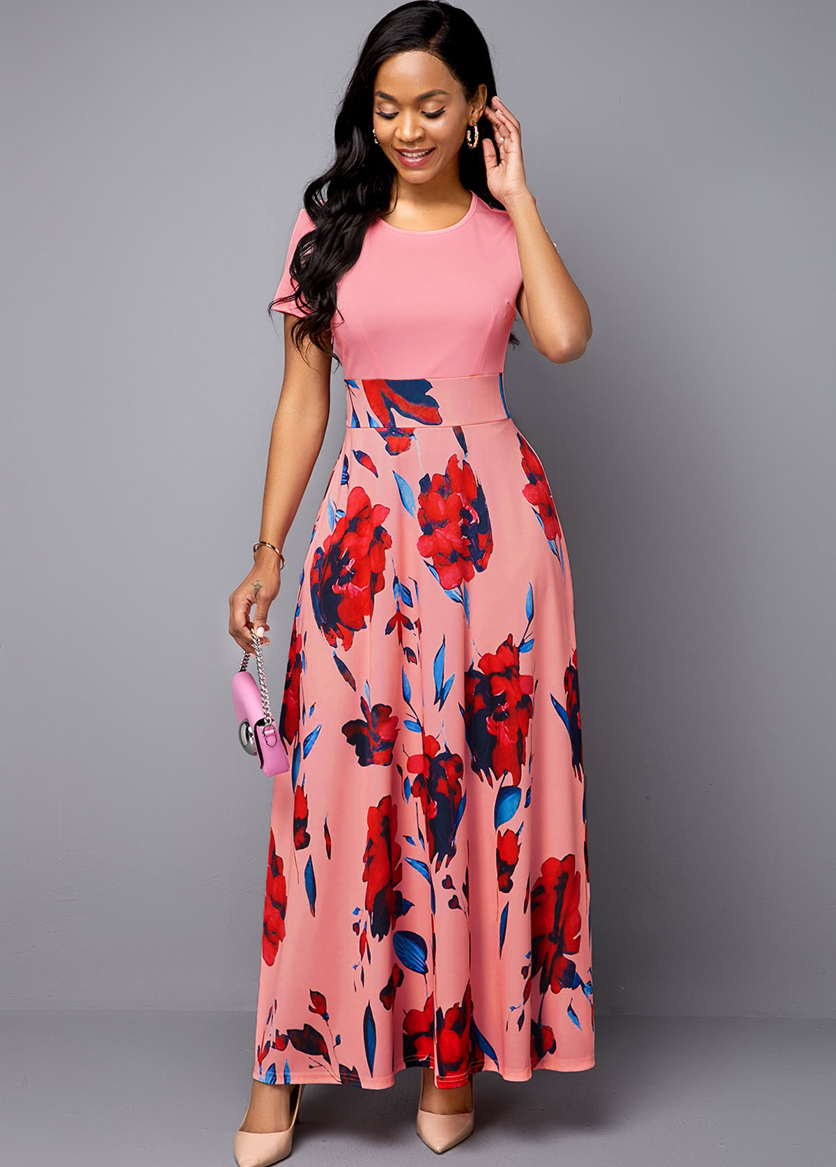 Flower Print Short Sleeve Pink Dress