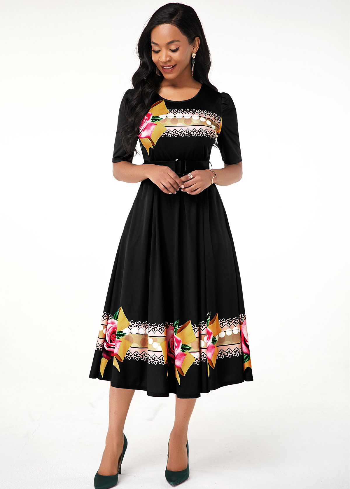 Flower Print Round Neck Black Dress