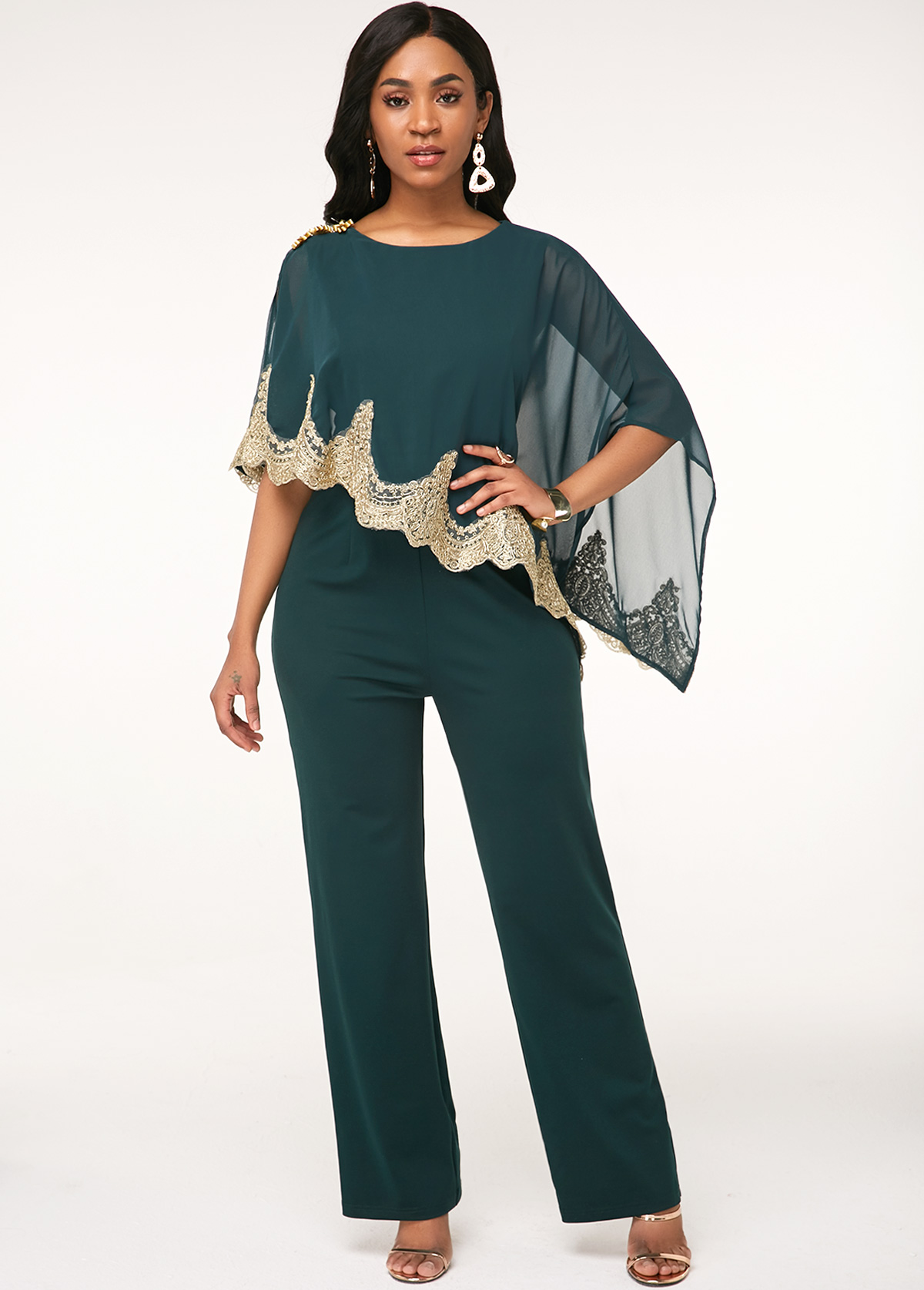 Cape Sleeve Lace Panel Green Jumpsuit