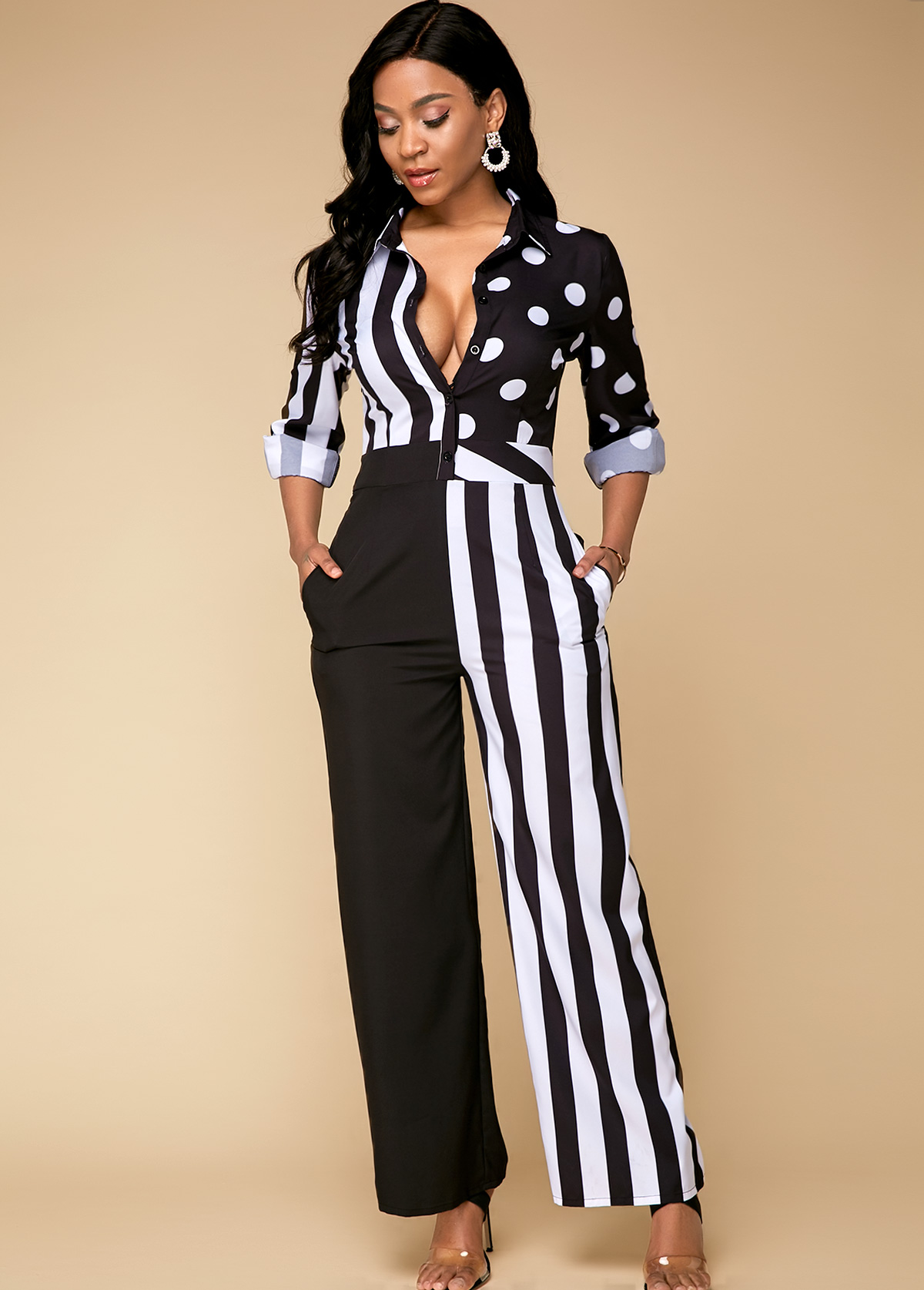 Patchwork Design Long Sleeve Striped Jumpsuits