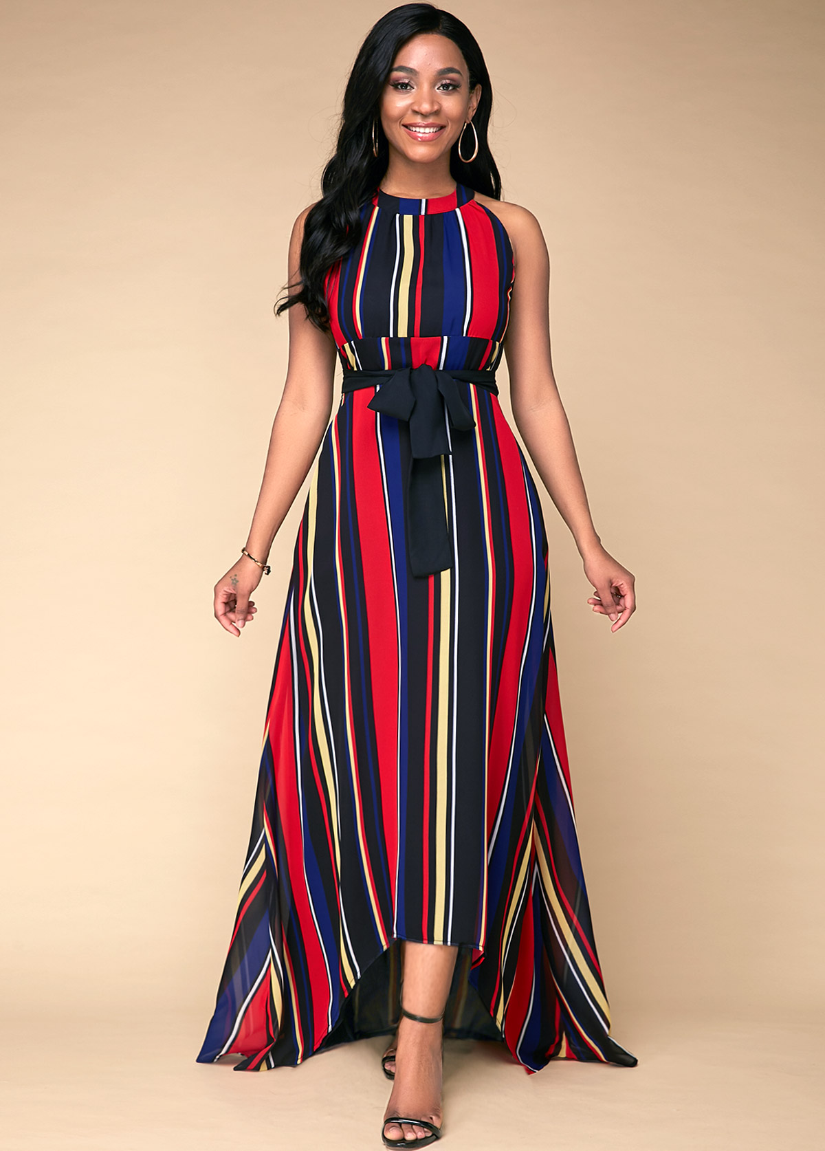 Multi Stripe Printed High Waist Dress