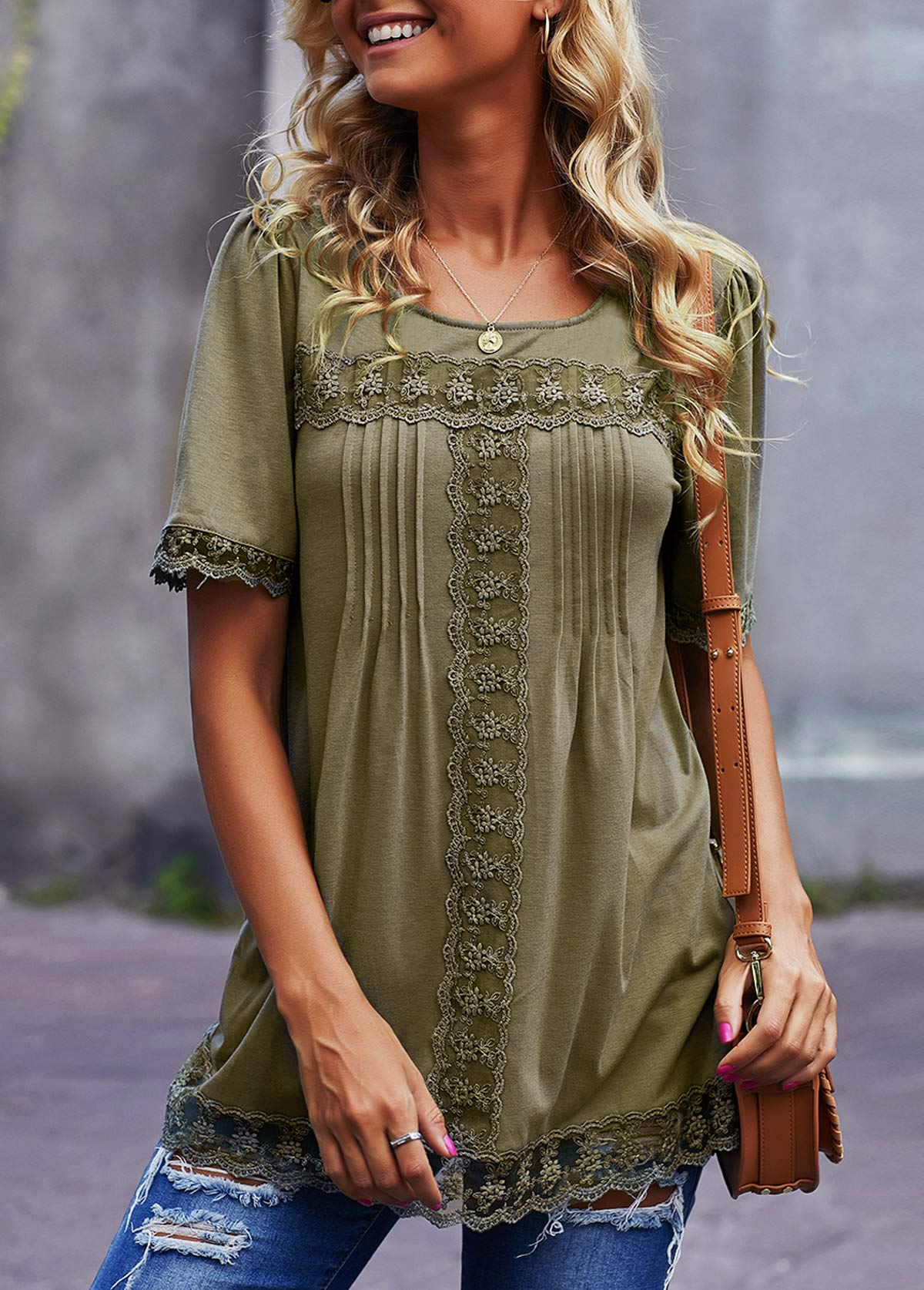 Round Neck Lace Panel Short Sleeve T Shirt