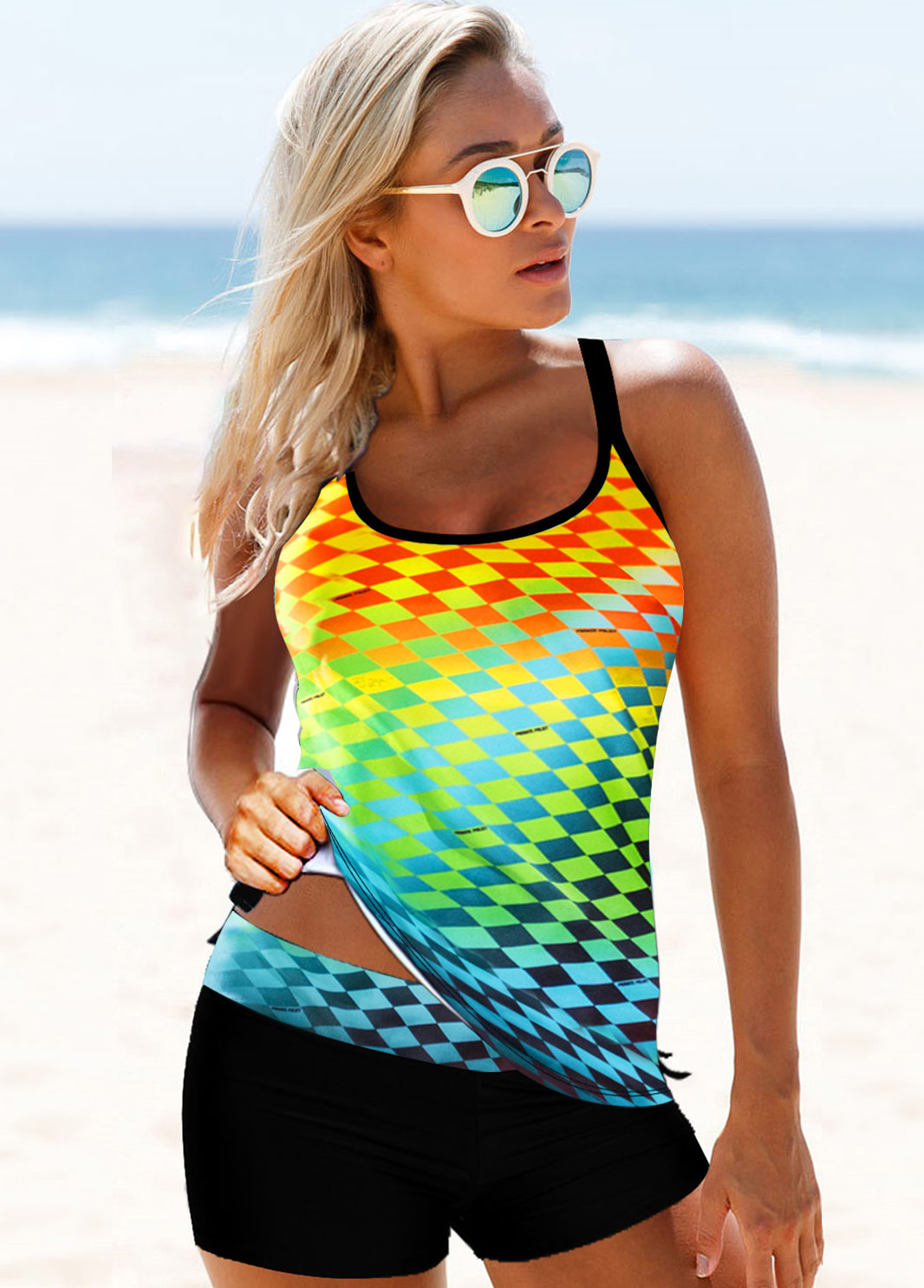Rainbow Color Printed Cross Strap Tankini Set
