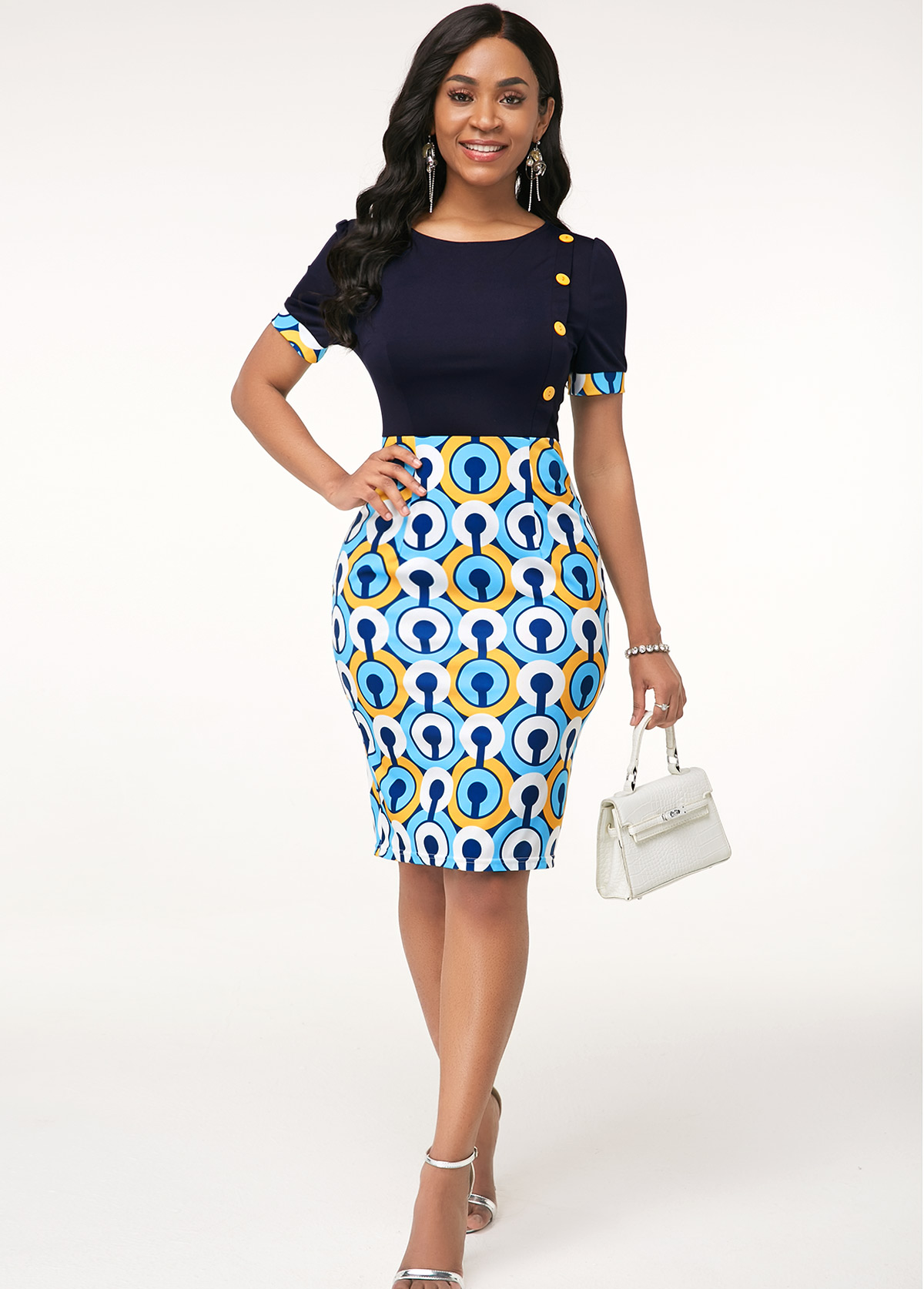Button Detail Round Neck Printed Dress