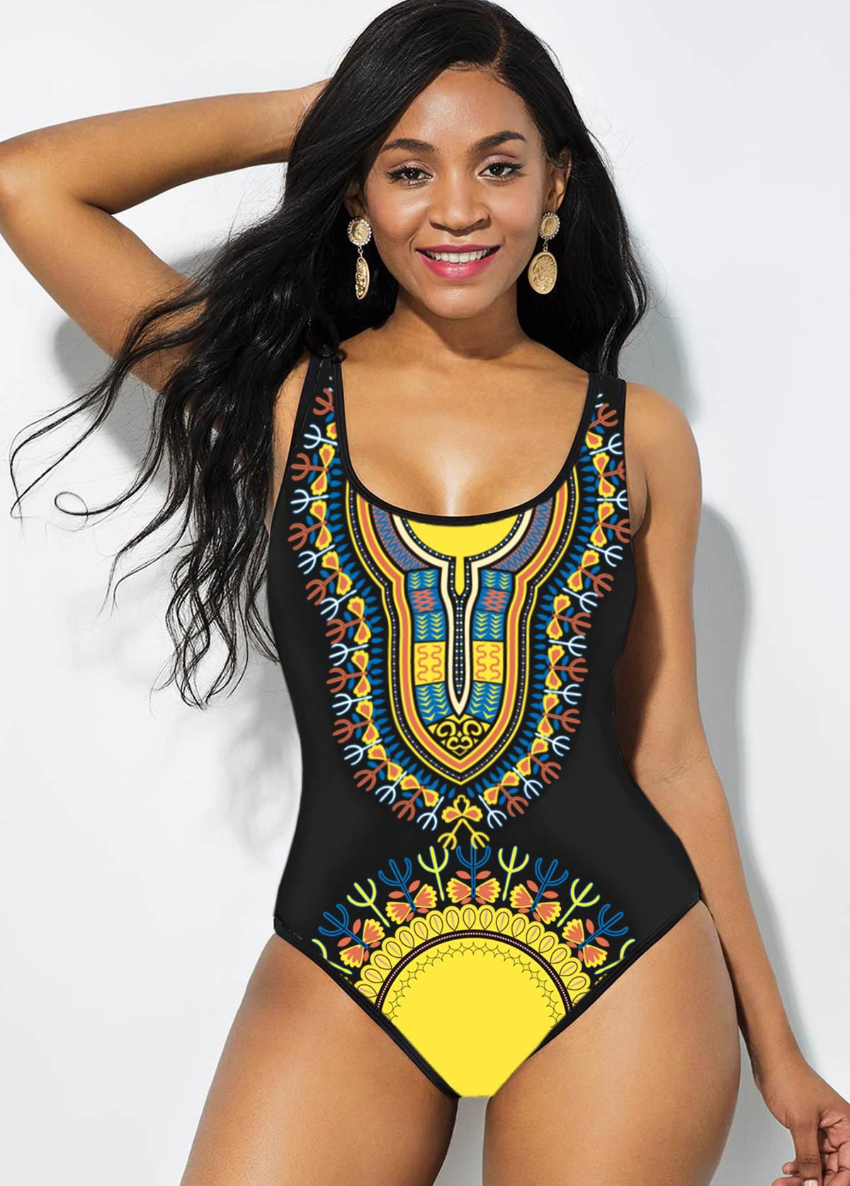 Tribal Print Yellow Wide Strap One Piece Swimwear