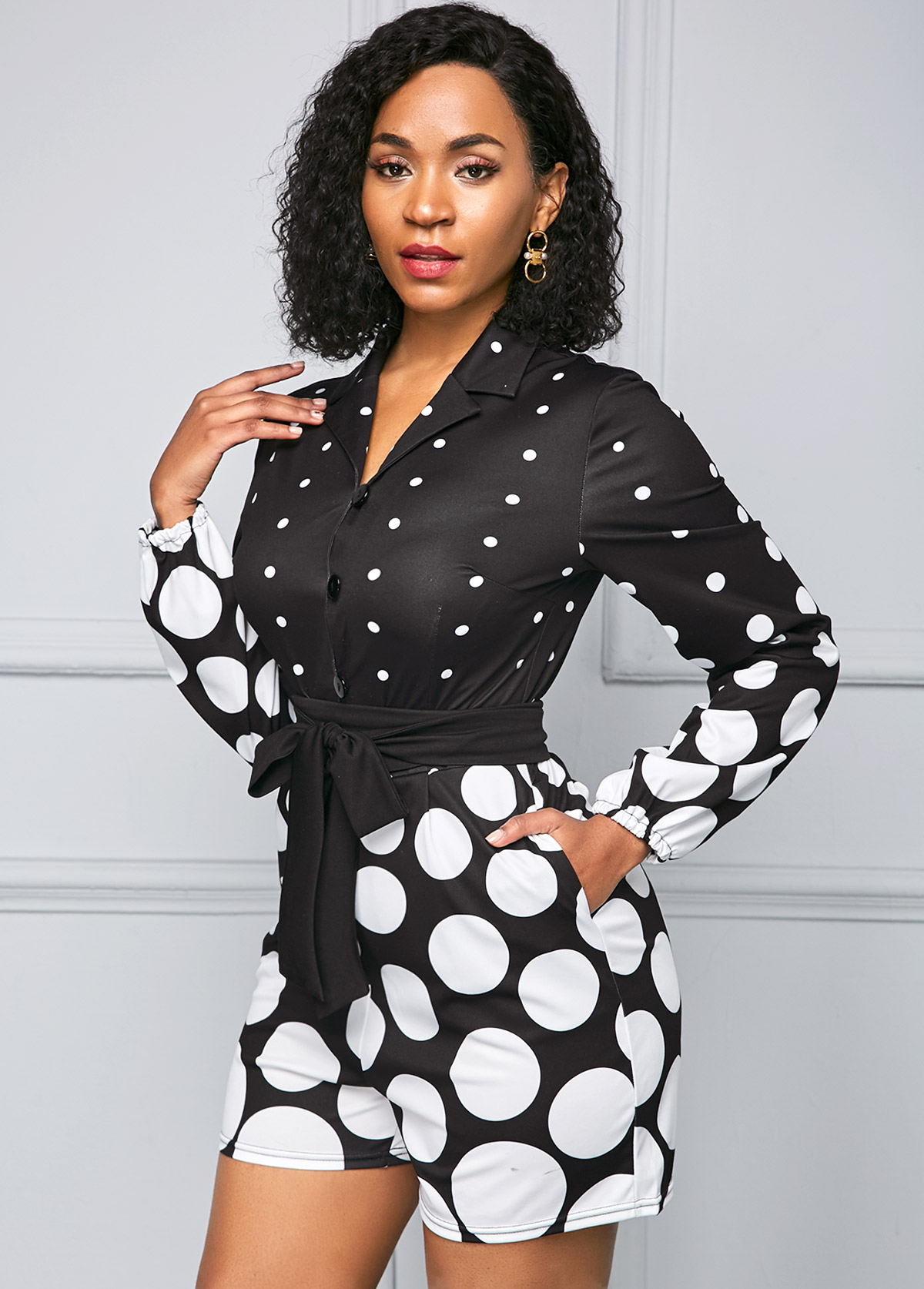 Polka Dot Print Belted Long Sleeve Jumpsuit