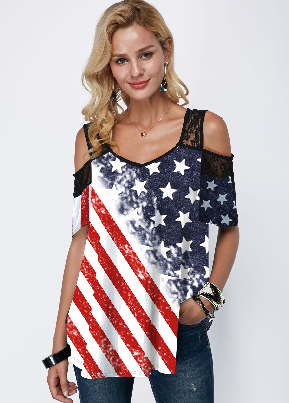 American Flag Print Cold Shoulder Lace Panel T Shirt