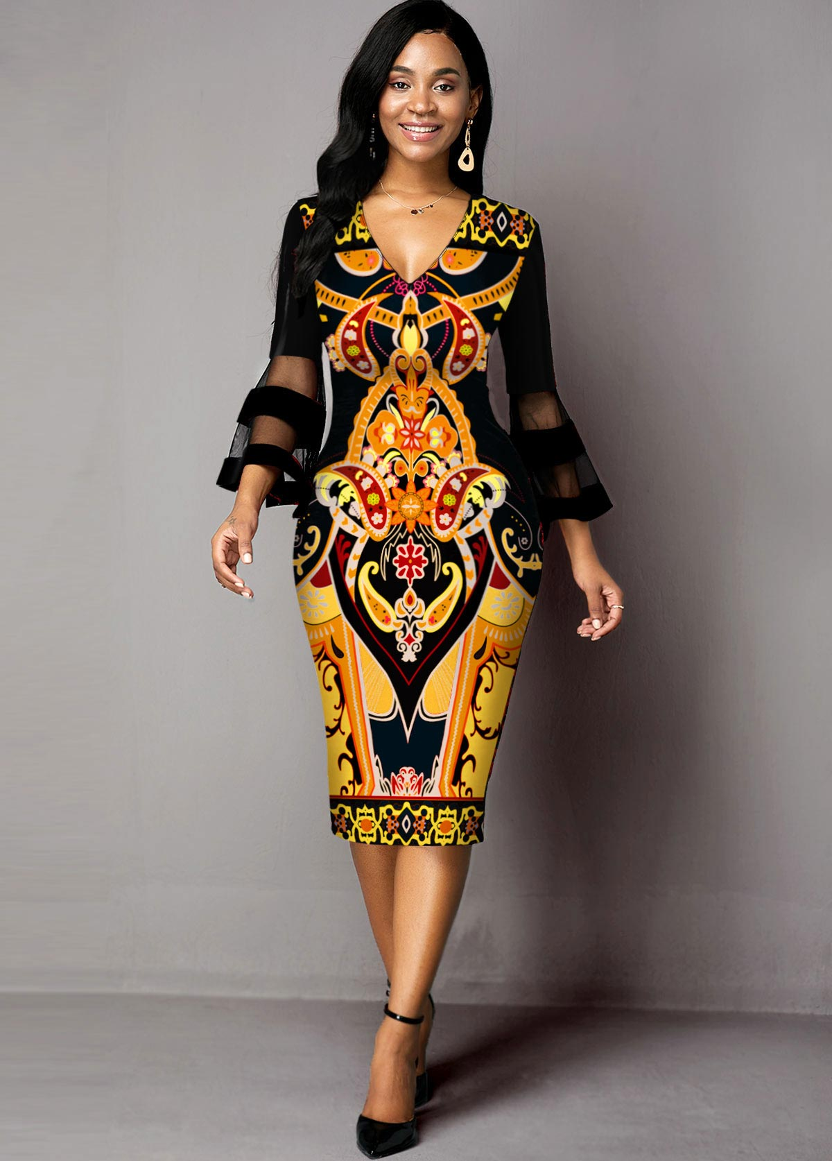 Mesh Panel Tribal Print V Neck Dress