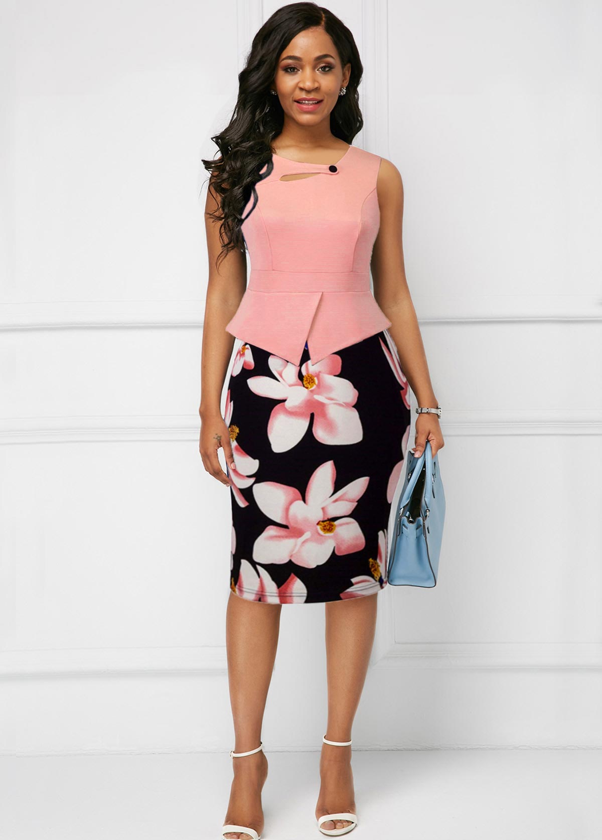 Floral Print Sleeveless Button Detail Dress