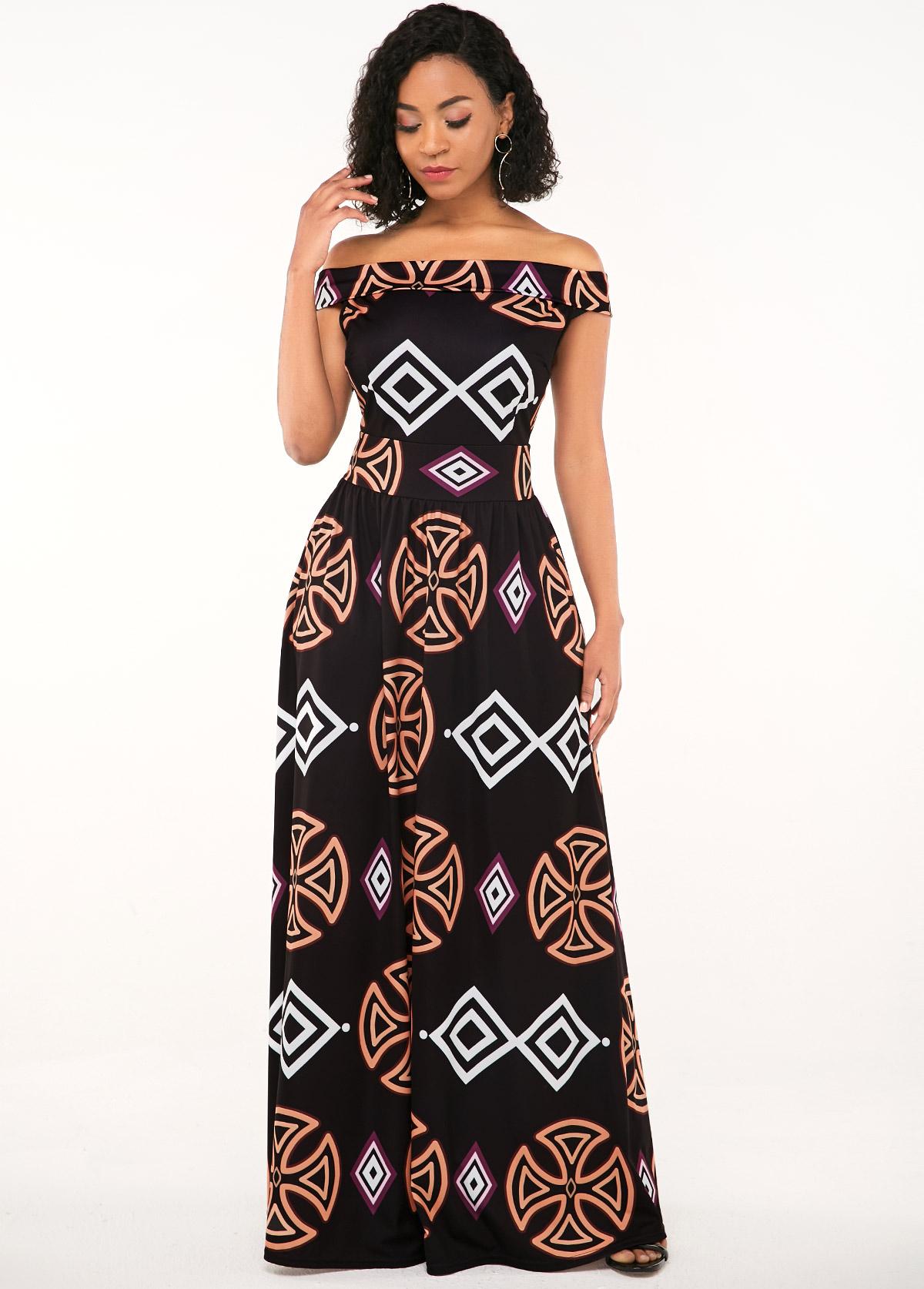 African Print Off the Shoulder Zipper Closure Dress