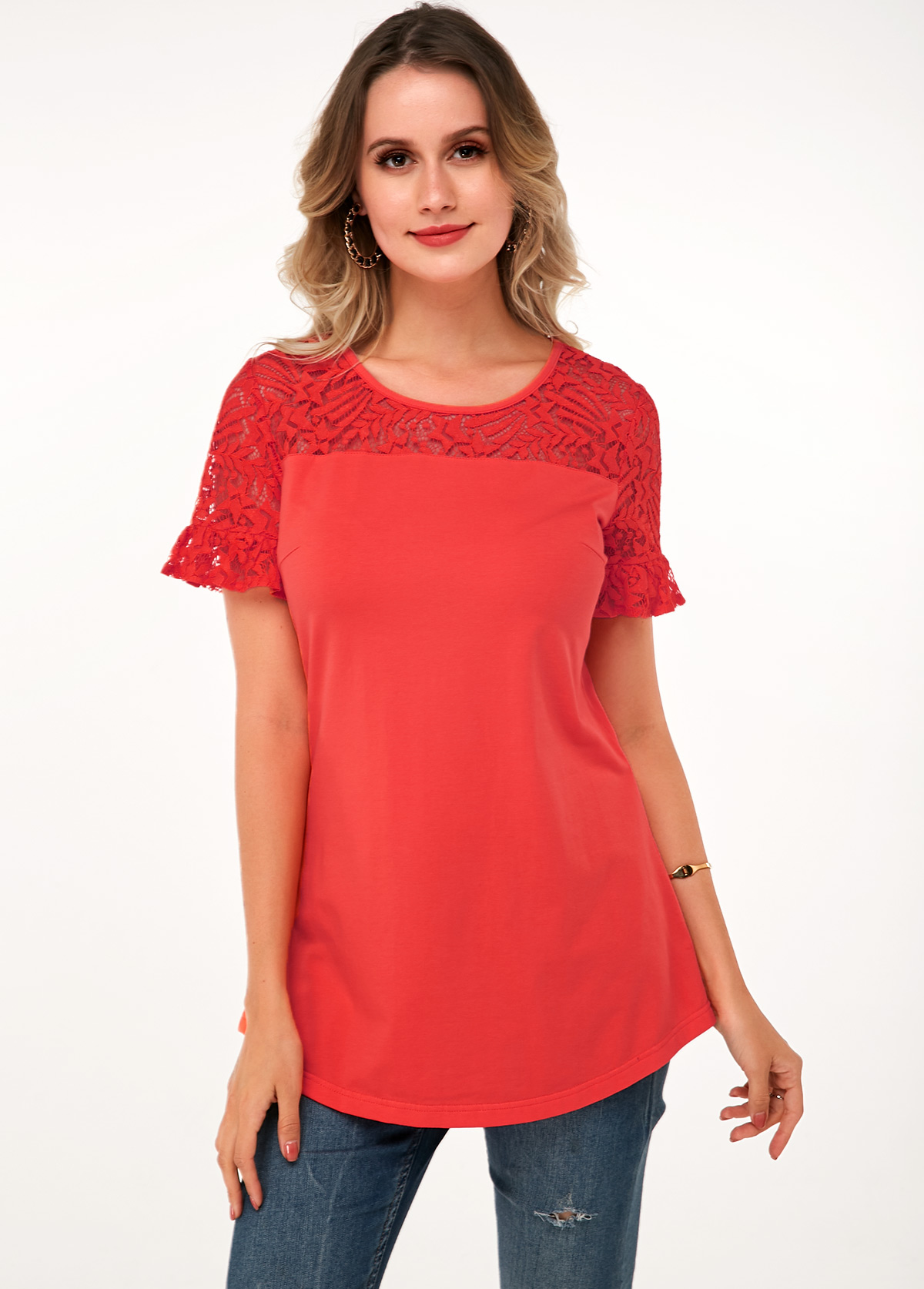 Lace Panel Red Round Neck Short Sleeve Soft T Shirt