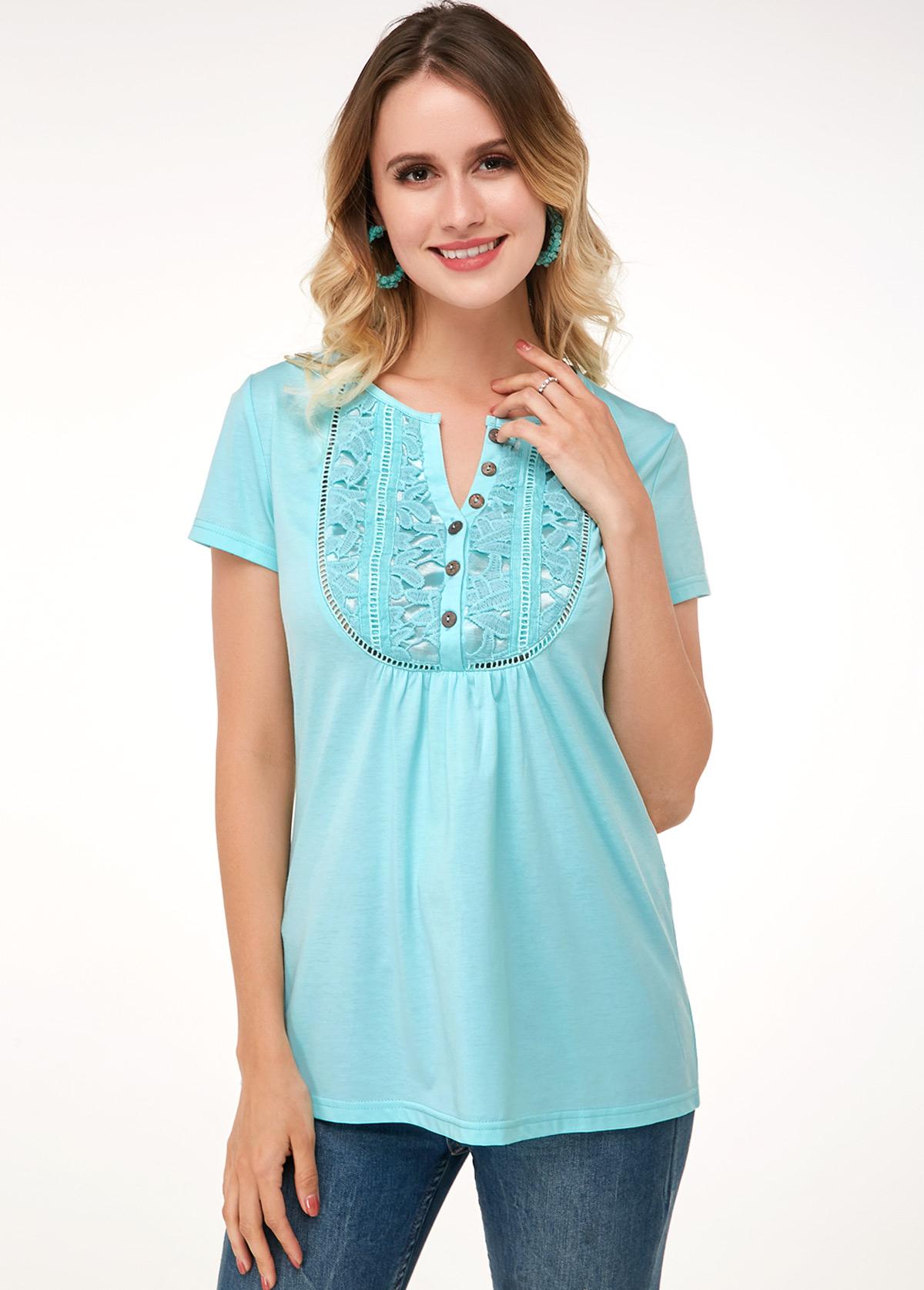 Short Sleeve Lace Panel Mint Green Soft T Shirt