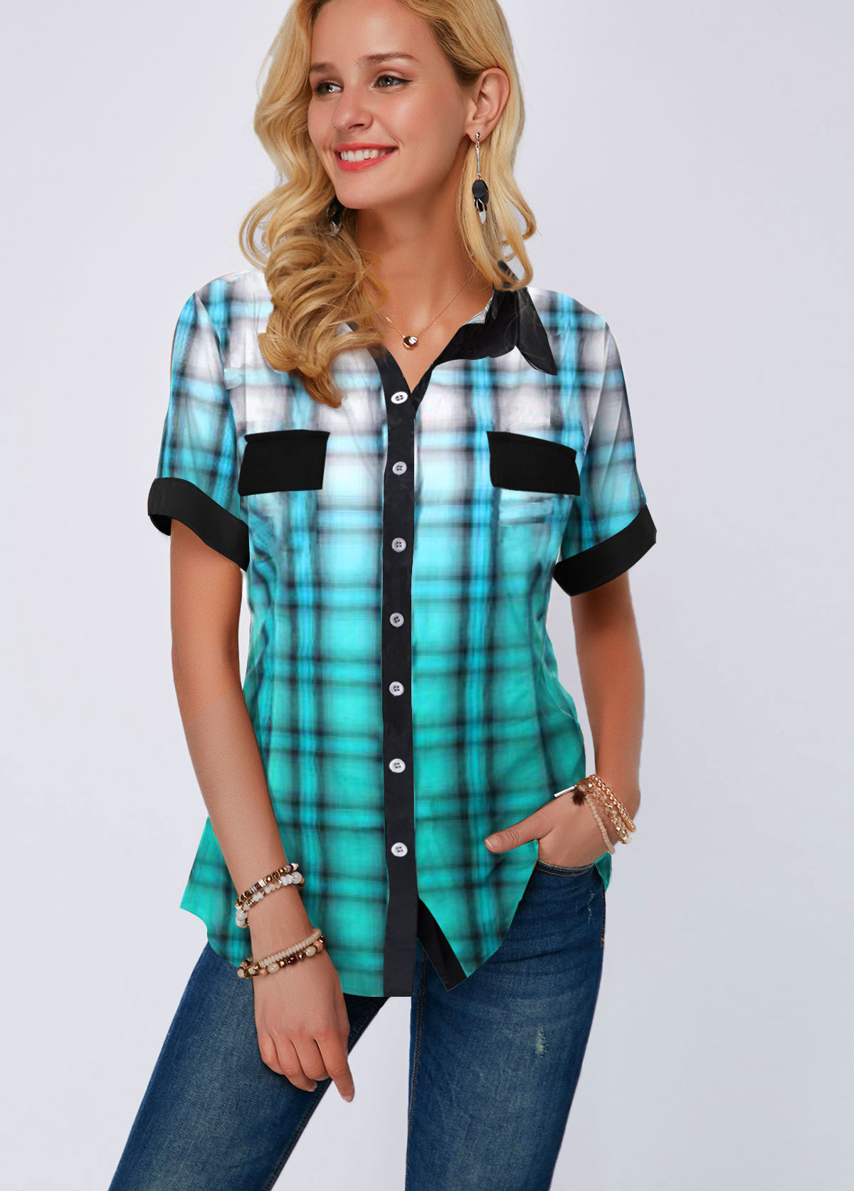 Plaid Print Button Up Gradient Blouse