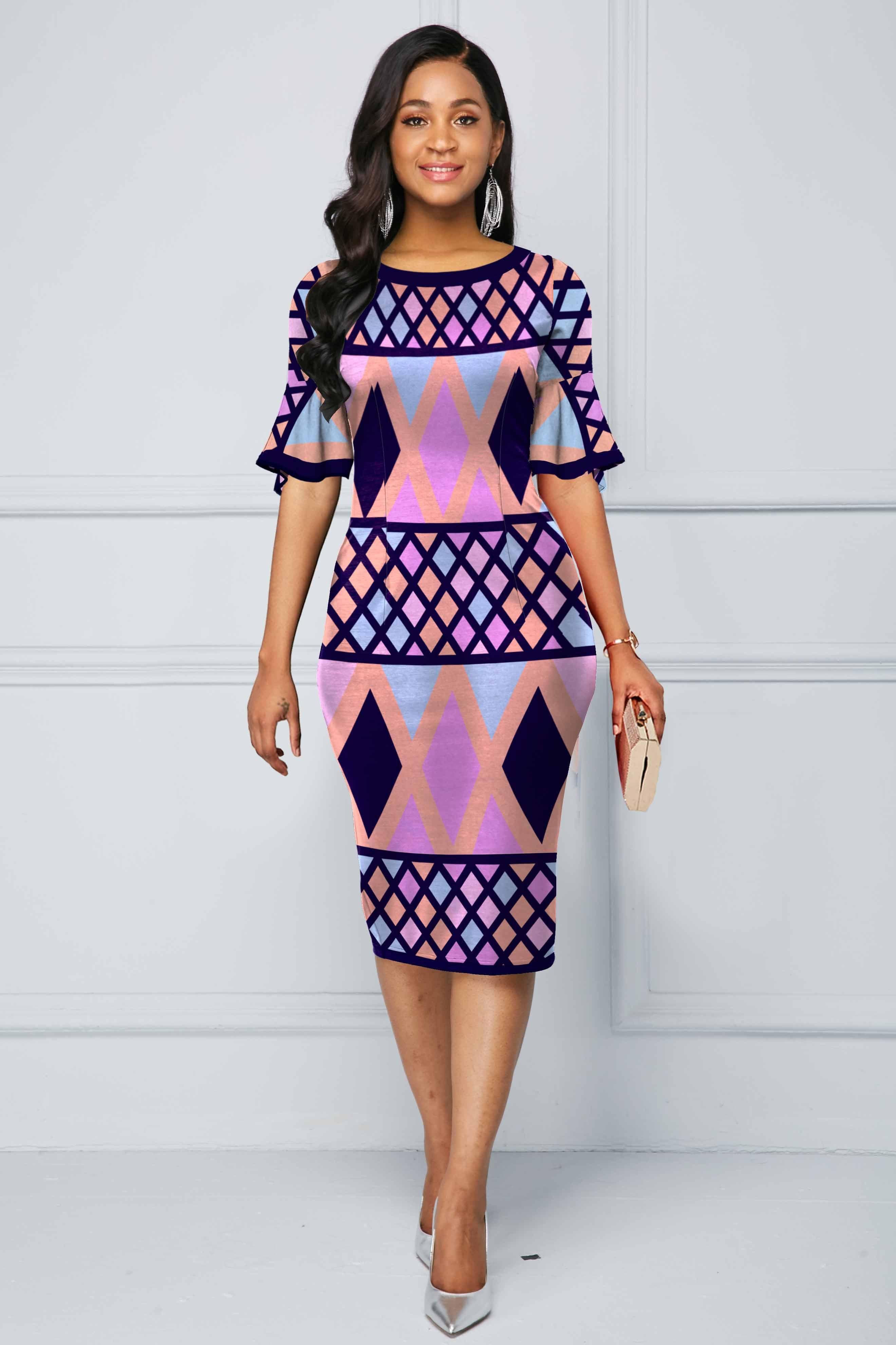 Geometric Print Flare Sleeve Multi Color Dress