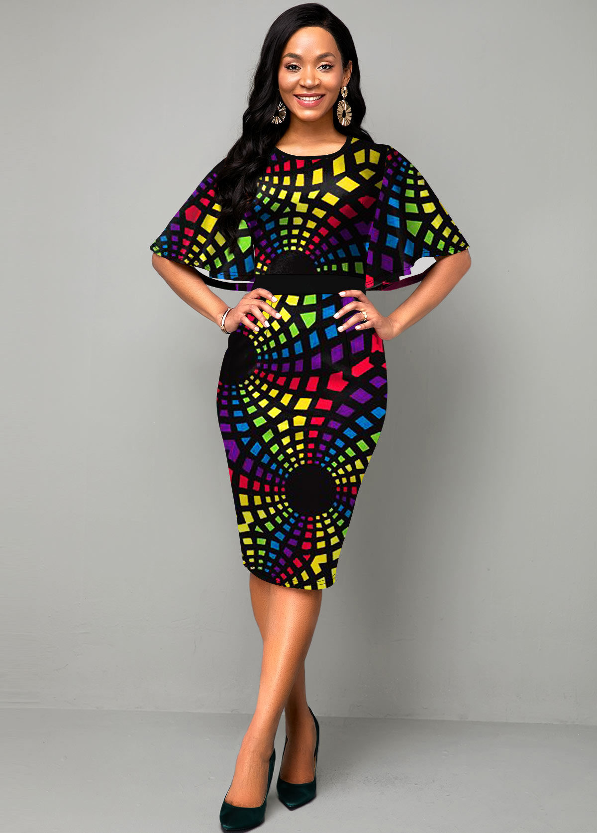 Geometric Print Cape Sleeve Multi Color Dress