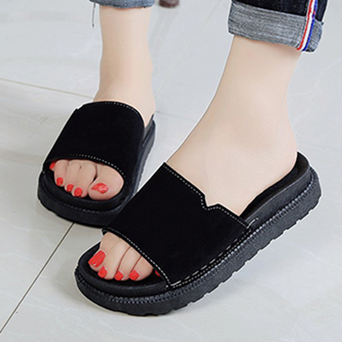 Black Open Toe Lug Sole Sliders