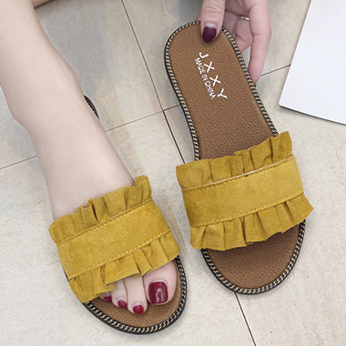 Yellow Pleated Sliders for Women