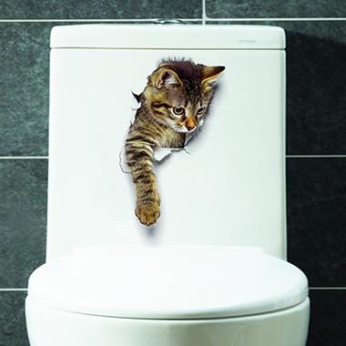 3D Cat Design Multi Color Sticker