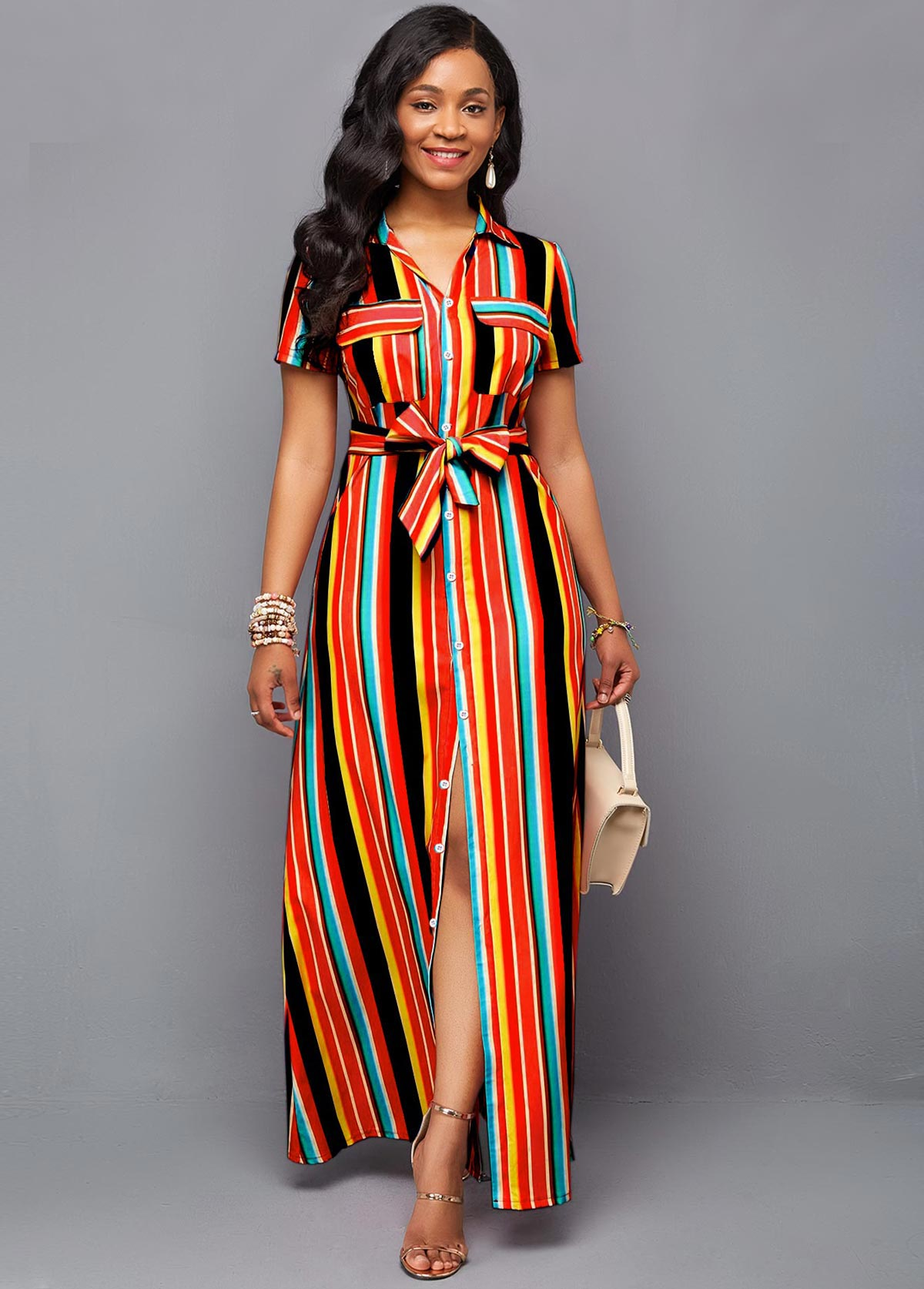 Rainbow Color Stripe Print Belted Maxi Dress