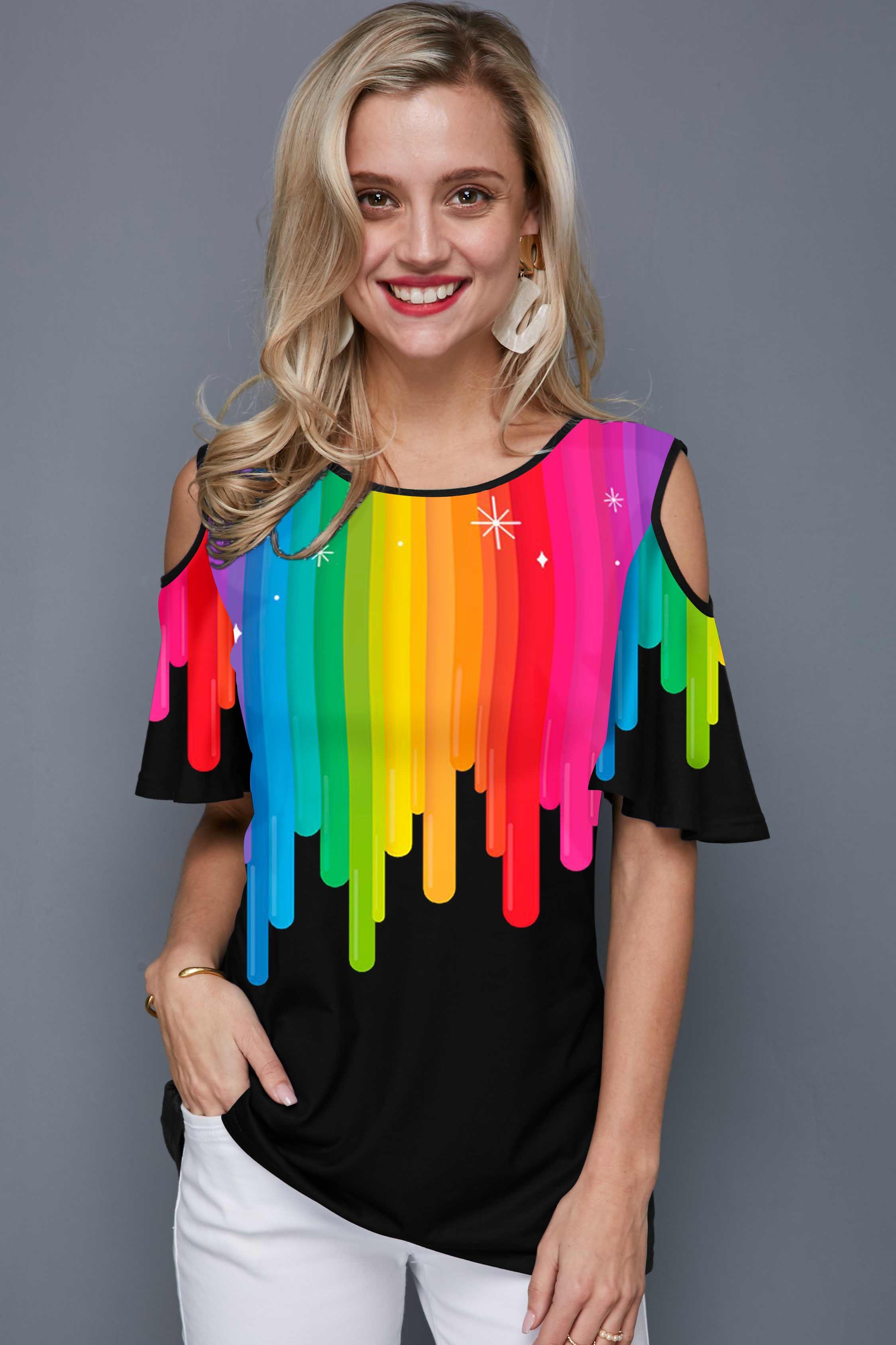 Cold Shoulder Rainbow Print Black T Shirt
