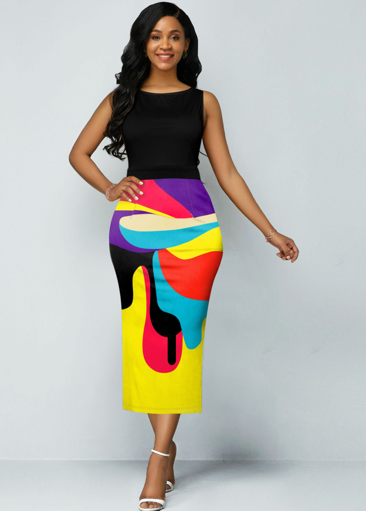 Rainbow Color Geometric Print Sleeveless Dress