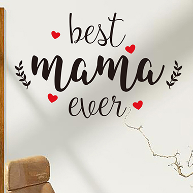 Letter and Heart Print Black Wall Sticker for Mother's Day