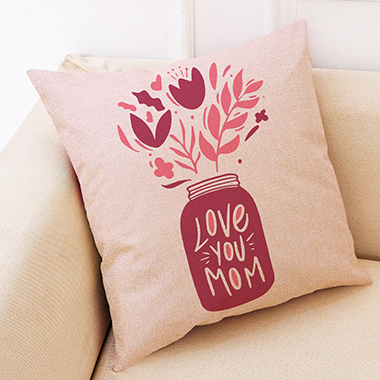 1pc 45 X 45cm Letter Print Pink Pillow Cover Without Filler