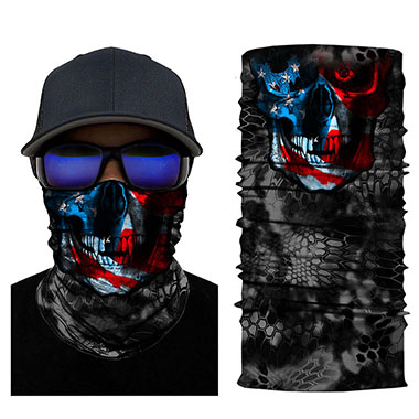 Black Skeleton American Flag Print Neck Tube Bandanas