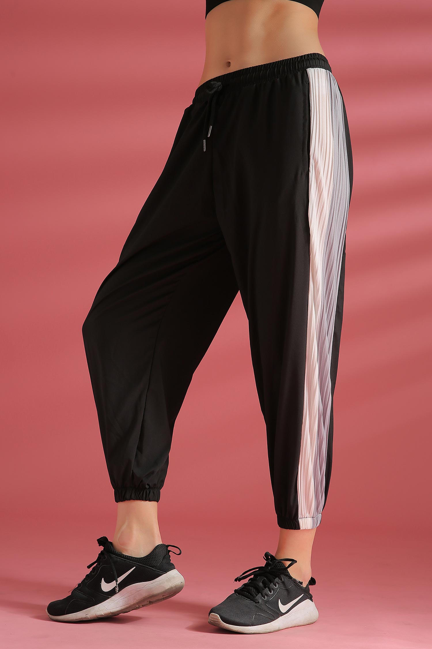 Drawstring Waist Black Striped Sports Pants