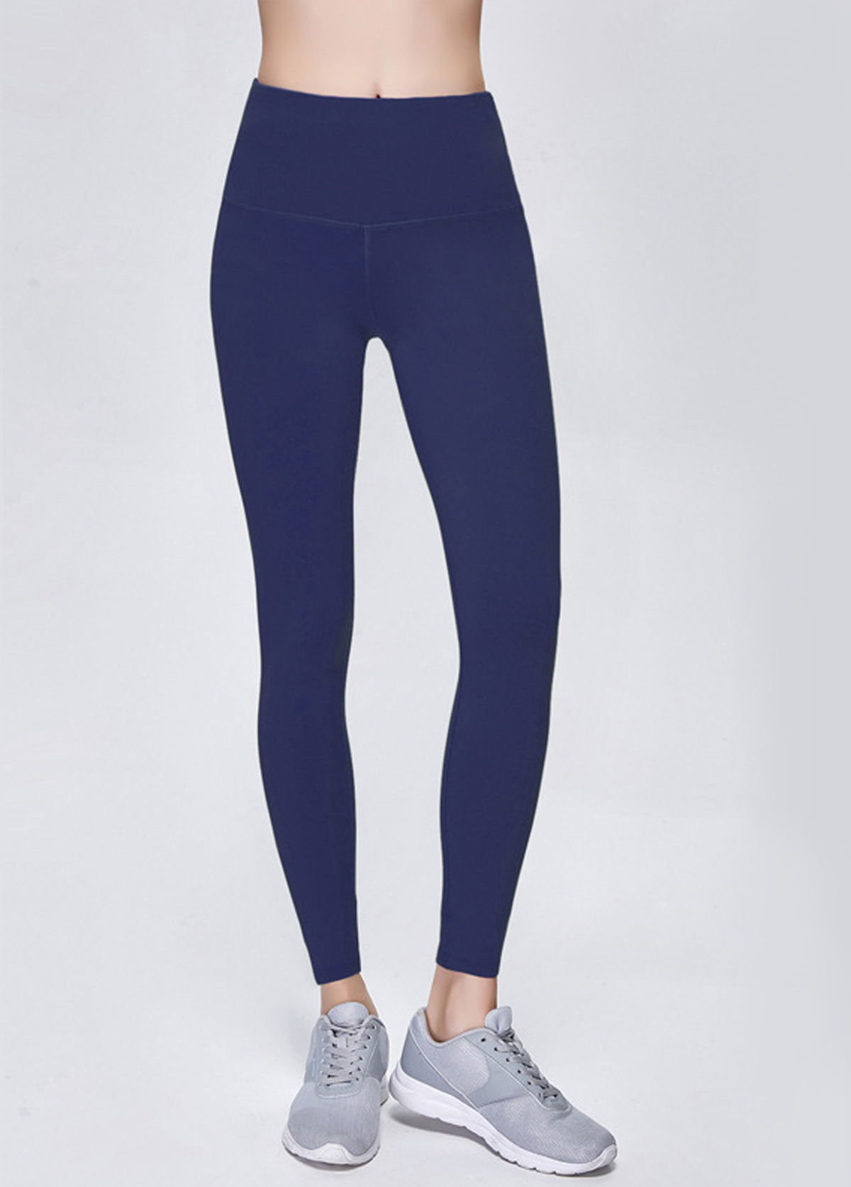 High Waist Navy Blue Elastic Quick Drying Yoga Pants