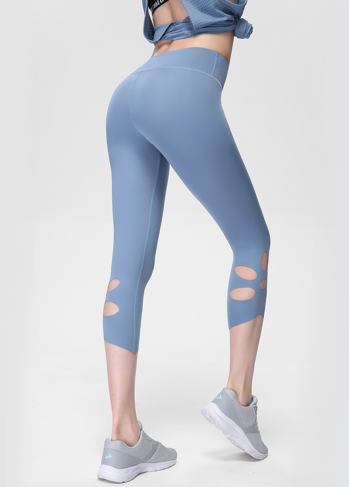High Waist Keyhole Detail Blue Yoga Leggings