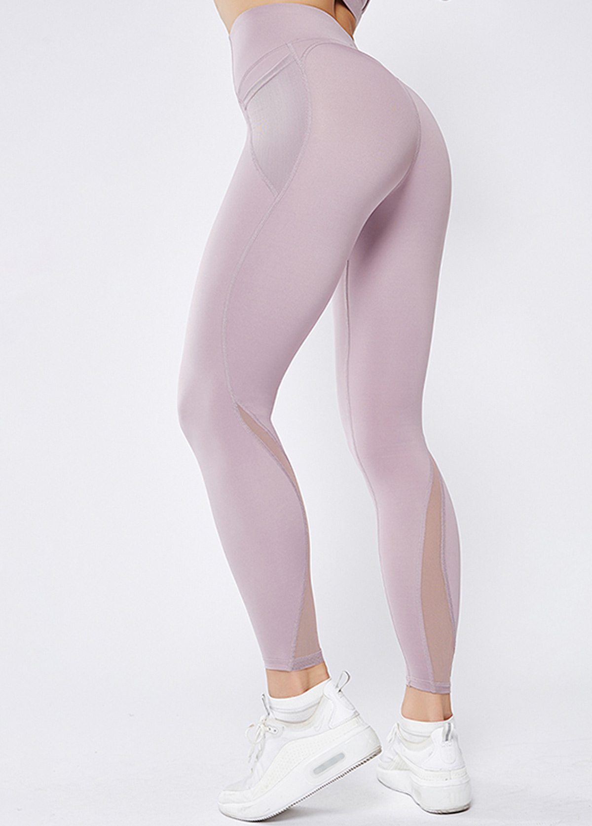 Mesh Panel Light Purple High Waist Elastic Yoga Leggings With Pockets