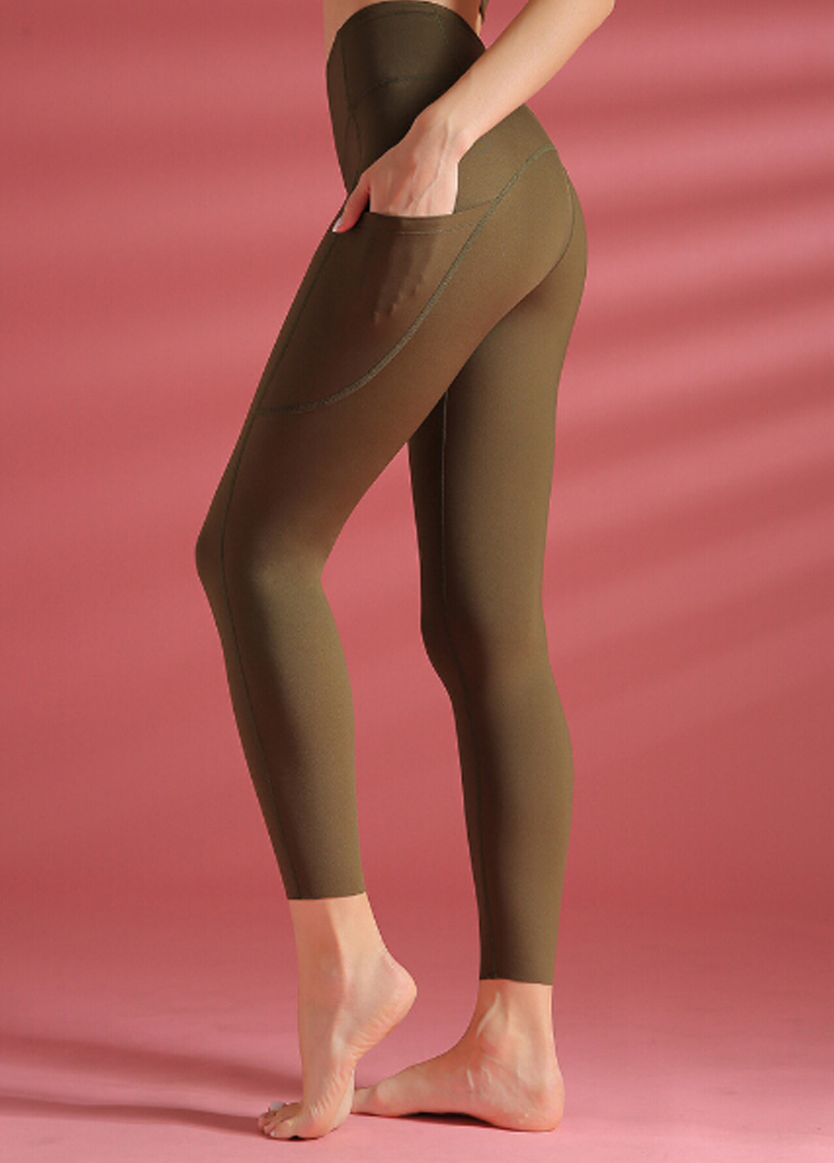 Olive Green Wide Band Waist Yoga Leggings With Pockets