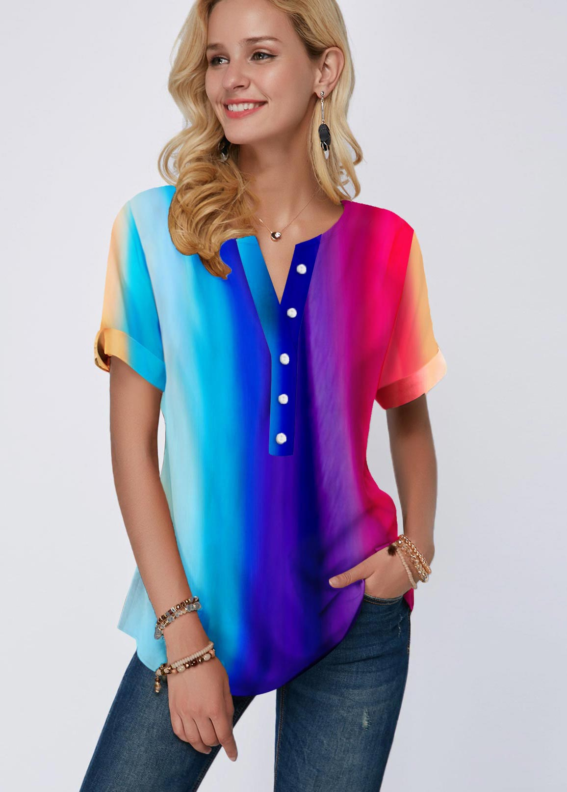 Rainbow Color Short Sleeve Button Detail Blouse