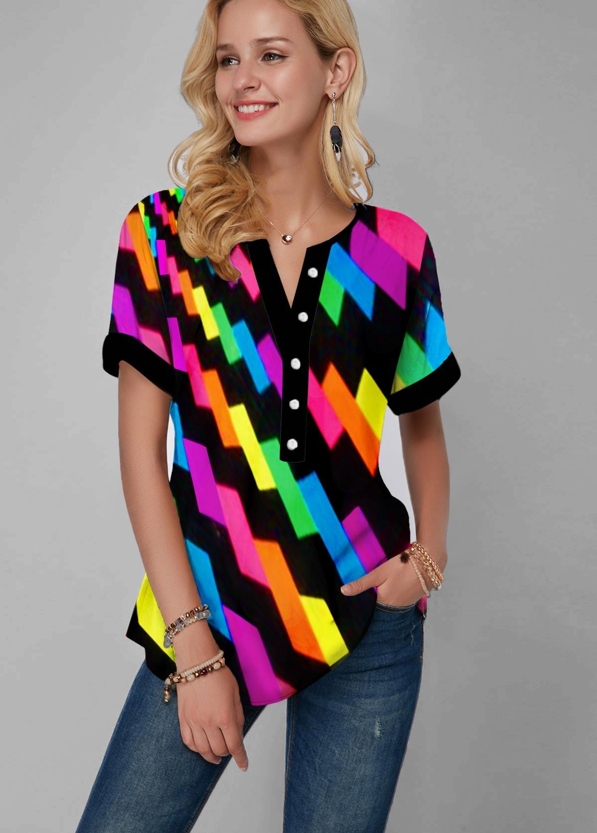 Gradient Geometric Print Split Neck Rainbow Color Blouse