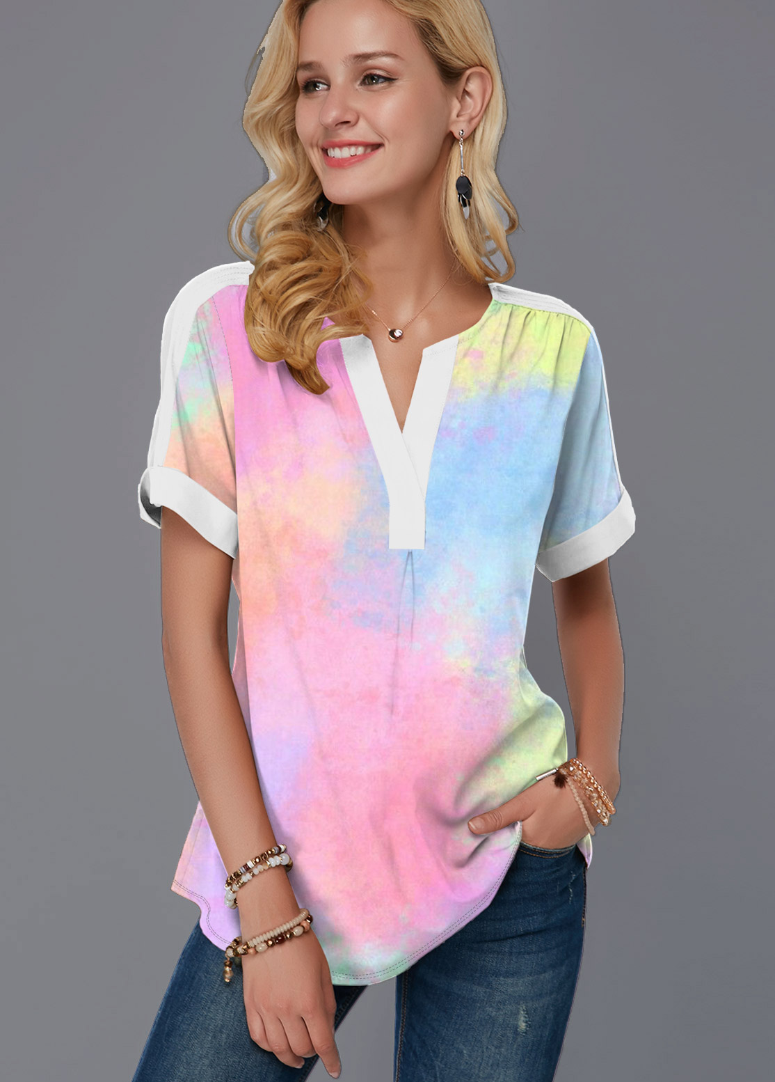 Split Neck Multi Color Short Sleeve Blouse