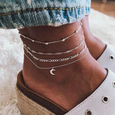 4pcs Moon Shape Silver Metal Anklet