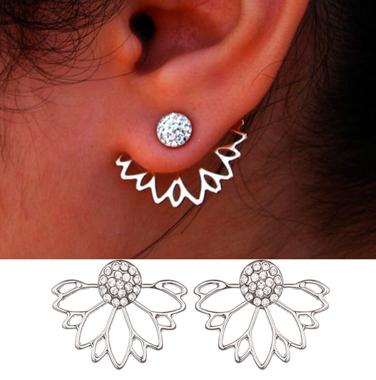 Lotus Shape Rhinestone Earrings for Lady