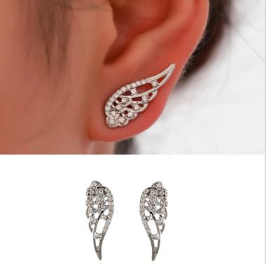 Angle Swings Silver Rhinestone Earrings