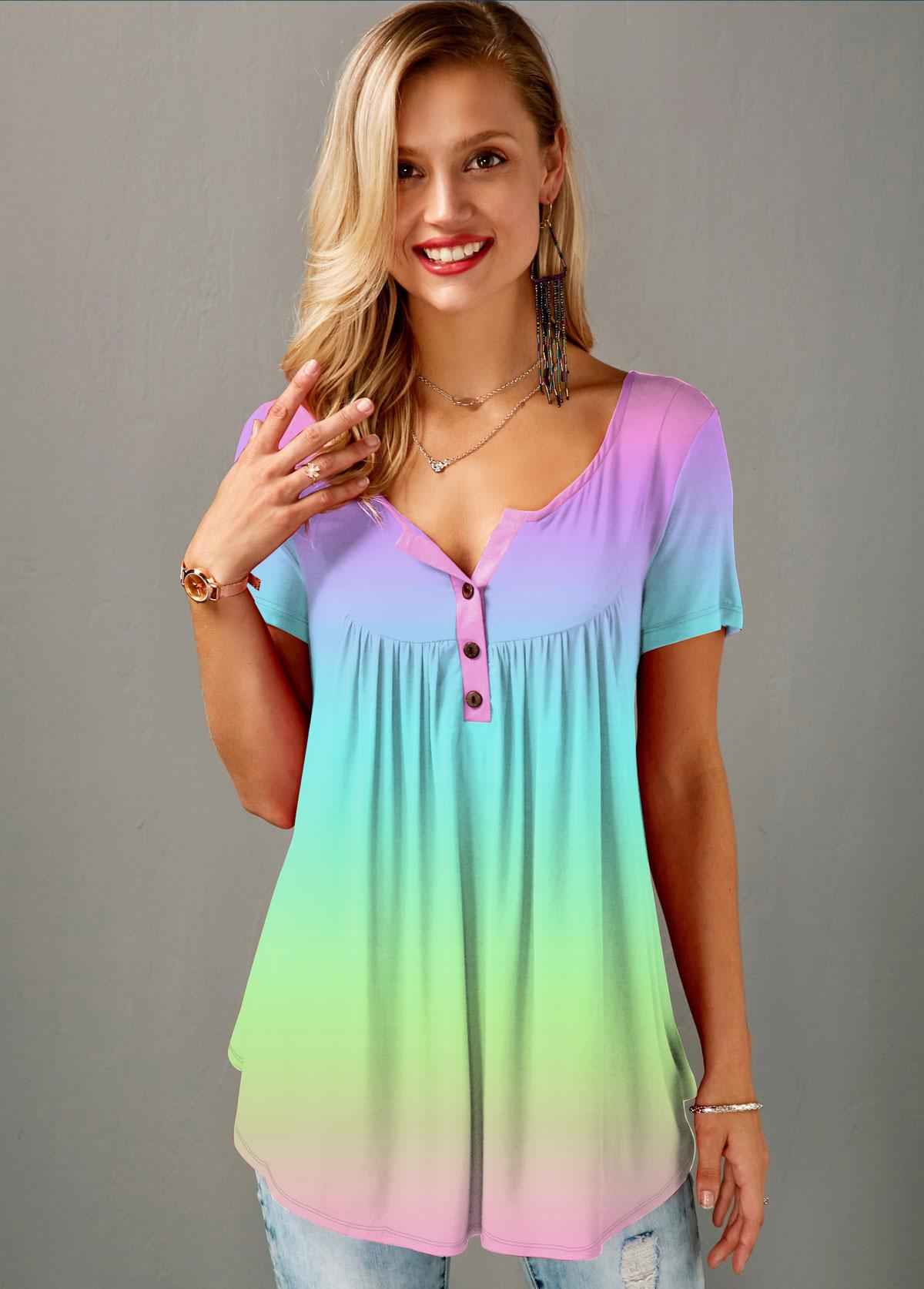 Button Detail Gradient Multi Color T Shirt